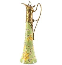 Vintage Carafe with Bronze handle - Porcelain