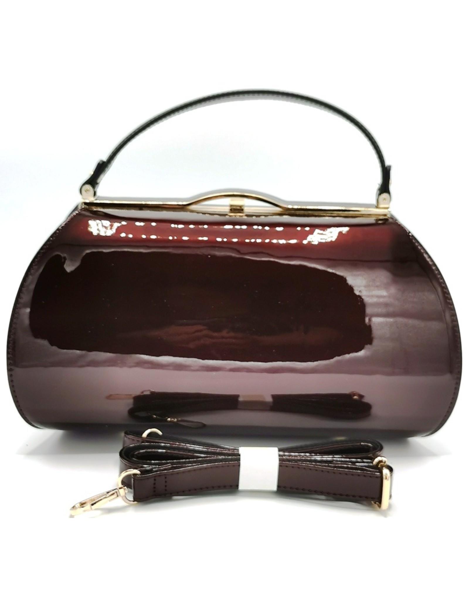 Lantadeli Retro tassen Vintage tassen - Lak Handtas  Vintage Style - Wijnrood