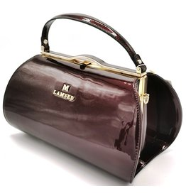 Lamsed Lacquer  Handbag Vintage Style - Burgundy