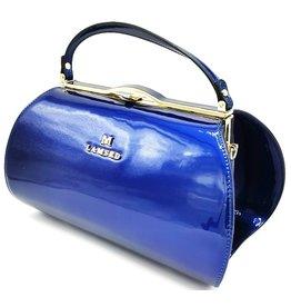 Lamsed Vintage style lacquer handbag blue