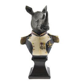 Neushoorn generaal beeld 26cm (buste)