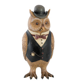 Trukado Owl with Cigar and Bowler Hat figurine 24cm