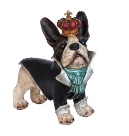 Bulldog with crown figurine 25cm