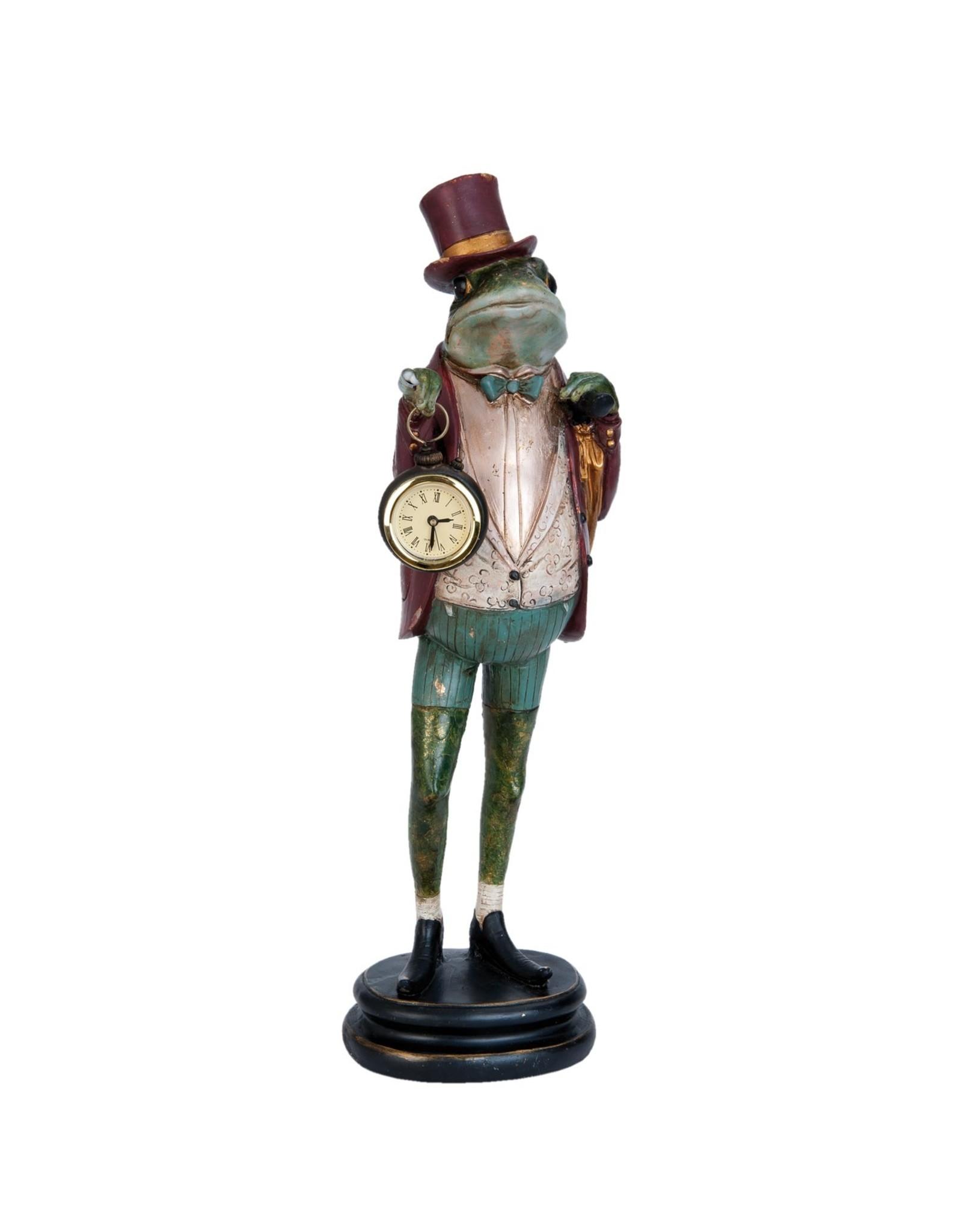 Giftware Beelden Collectables  - Kikker met echte klok beeld 44cm