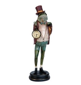 Kikker met echte klok beeld 44cm