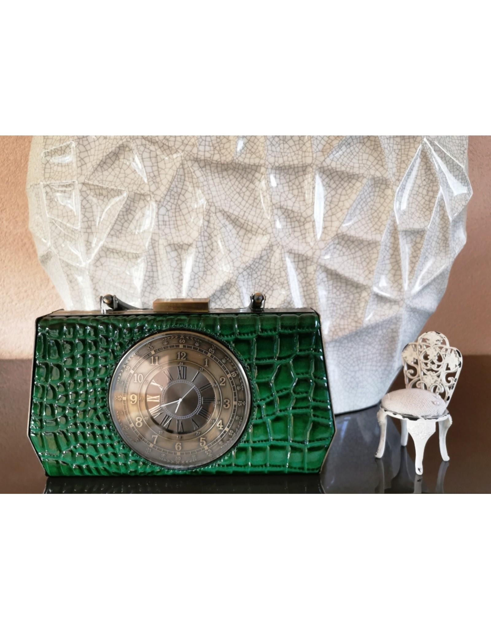 Magic Bags Retro tassen Vintage tassen - Handtas met Echte Klok vintage style groen