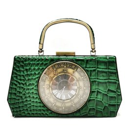 Magic Bags Handbag with Real Clock vintage style green