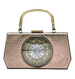 Magic Bags Handbag with Real Clock vintage style grey