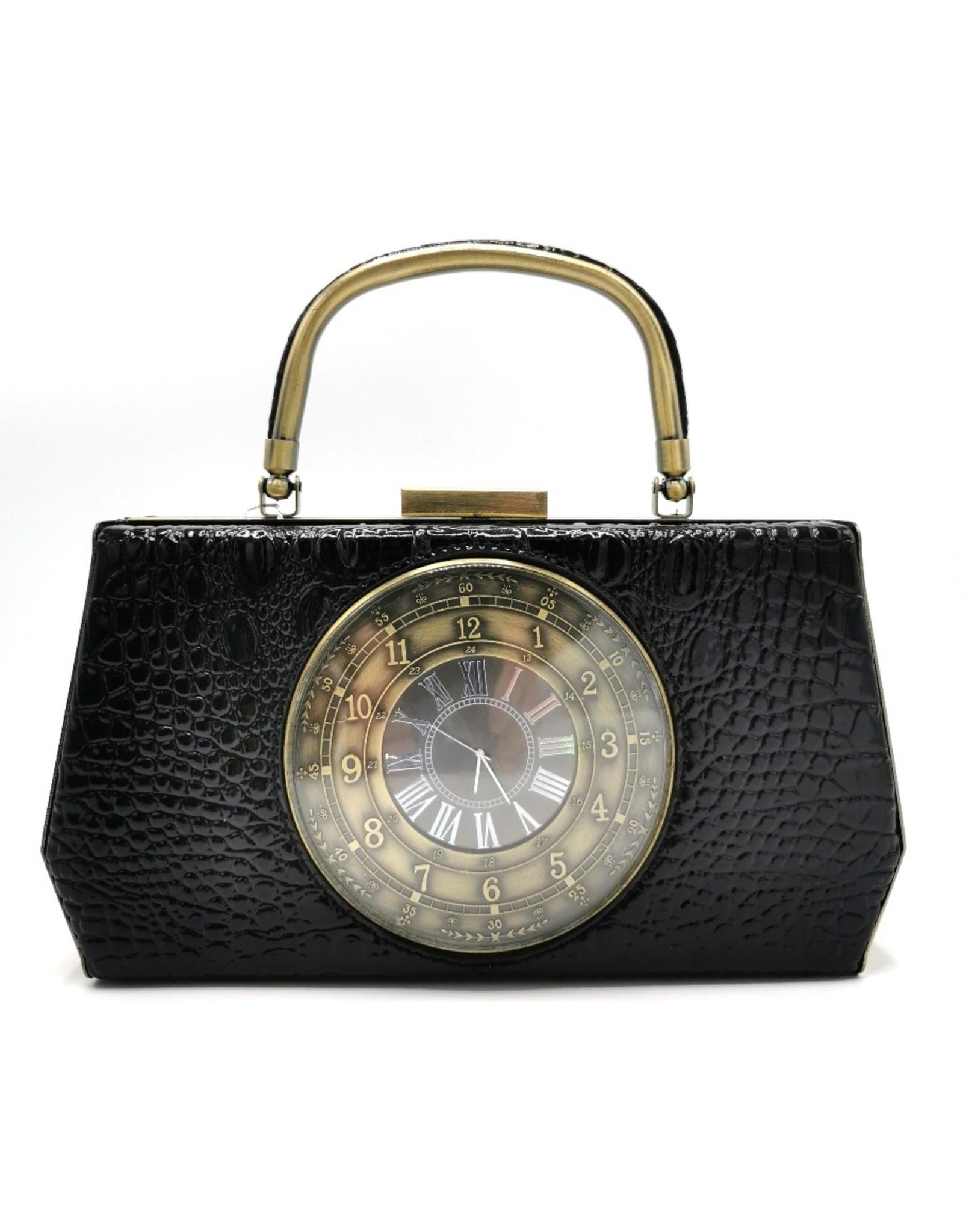 Magic Bags Retro tassen Vintage tassen - Handtas met Echte Klok vintage style zwart