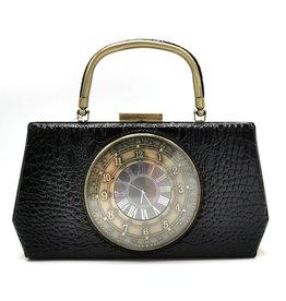 Magic Bags Handbag with Real Clock vintage style black