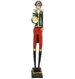 GG St. Bernard wears Uniform with clock - statue 63cm