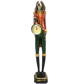 GG Spaniel Dog Officer with real clock - statue 43cm