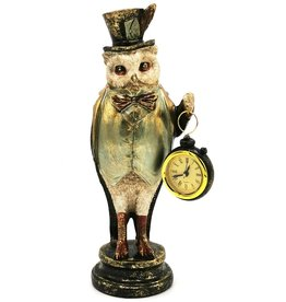 GG Owl with High Hat and Real Clock 29,5cm
