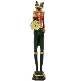 GG Cat wears Uniform with real clock - statue 43cm