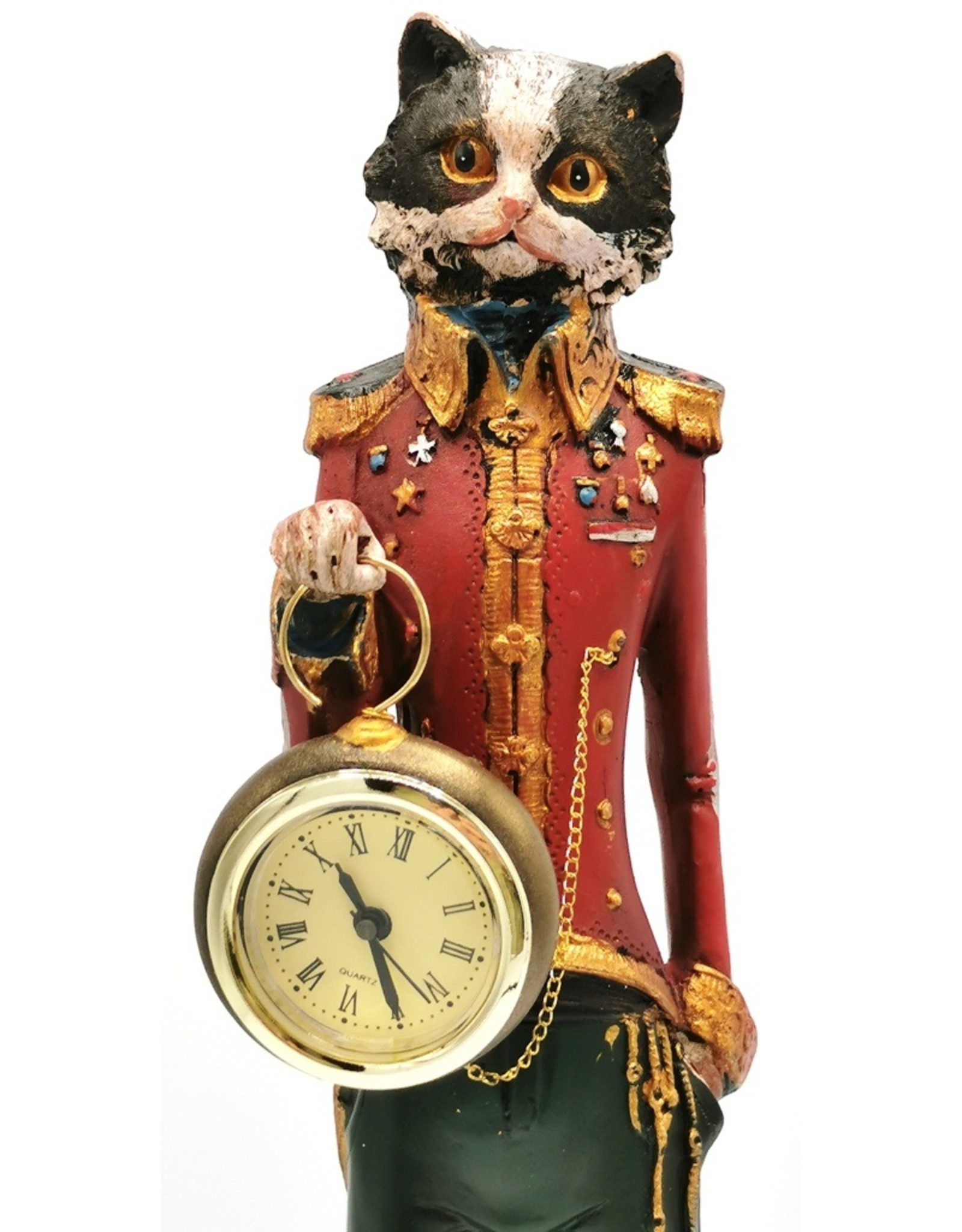 GG Giftware Figurines Collectables - Cat wears Uniform with real clock - statue 43cm