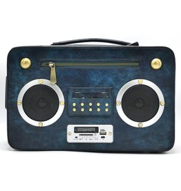 Eliox Boombox Retro Radio Handtas met Echte Radio blauw