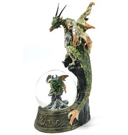 Alator Snowglobe Mother Dragon with her Dragonling - Nemesis Now