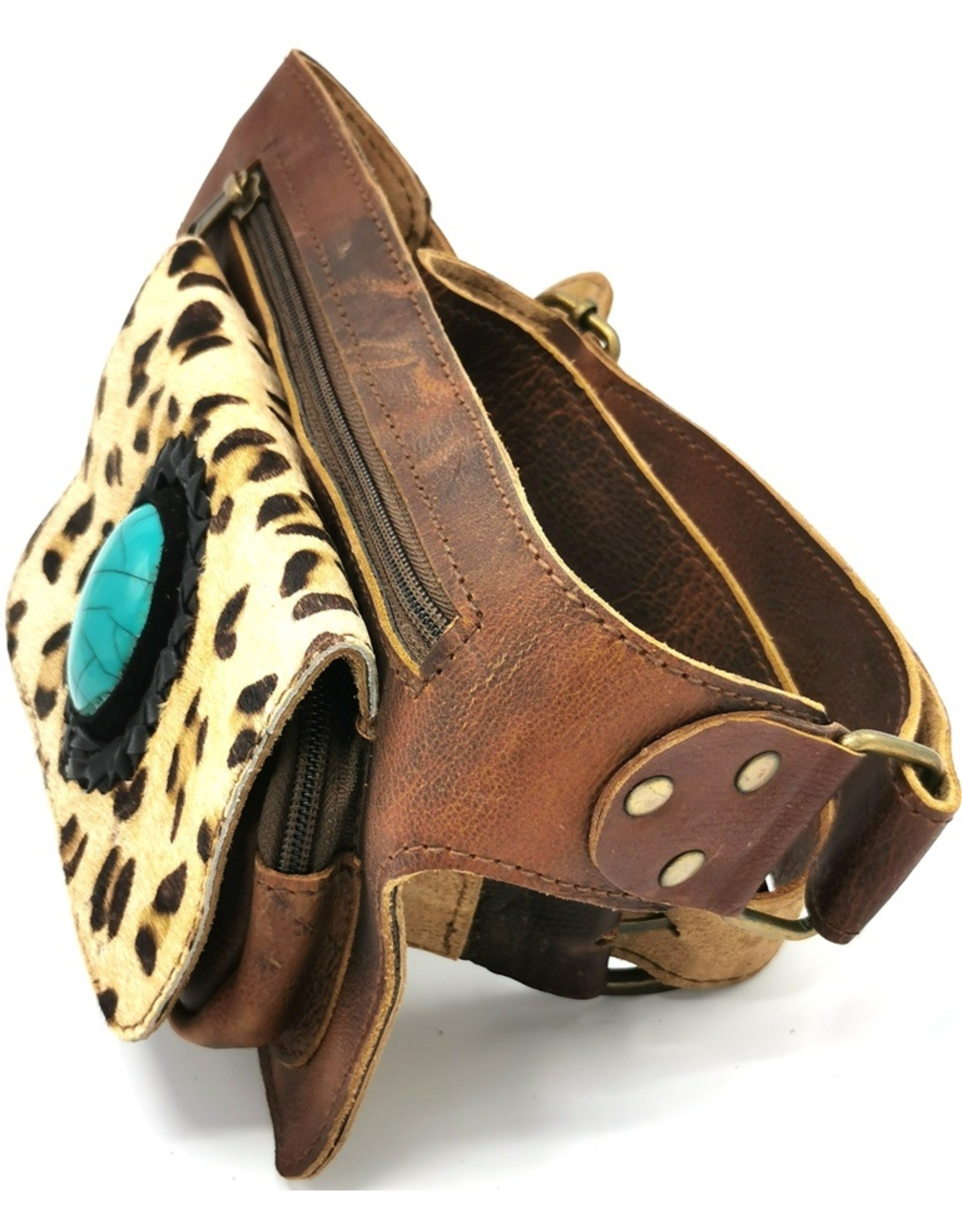 ONK Small leather bags, cluches and more - Cowhide waist bag with leopard print