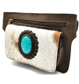 ONK Waist bag Ibiza style with mobile phone pocket, genuine leather