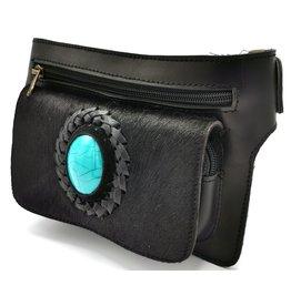 ONK Cowskin Ibiza style waist bag black