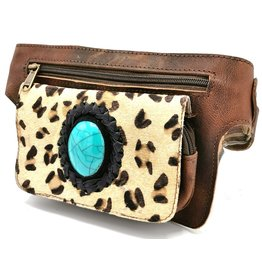 ONK Cowhide waist bag with leopard print