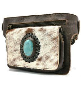 Trukado Leather waist bag with fur and large blue stone  (dark brown)