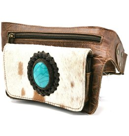 Leather bum bag with fur andlarge blue stone, rectangle (brown)