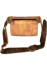 Trukado Small leather bags, clutches and more - Leather bum bag with fur and large blue stone, rectangle (brown)
