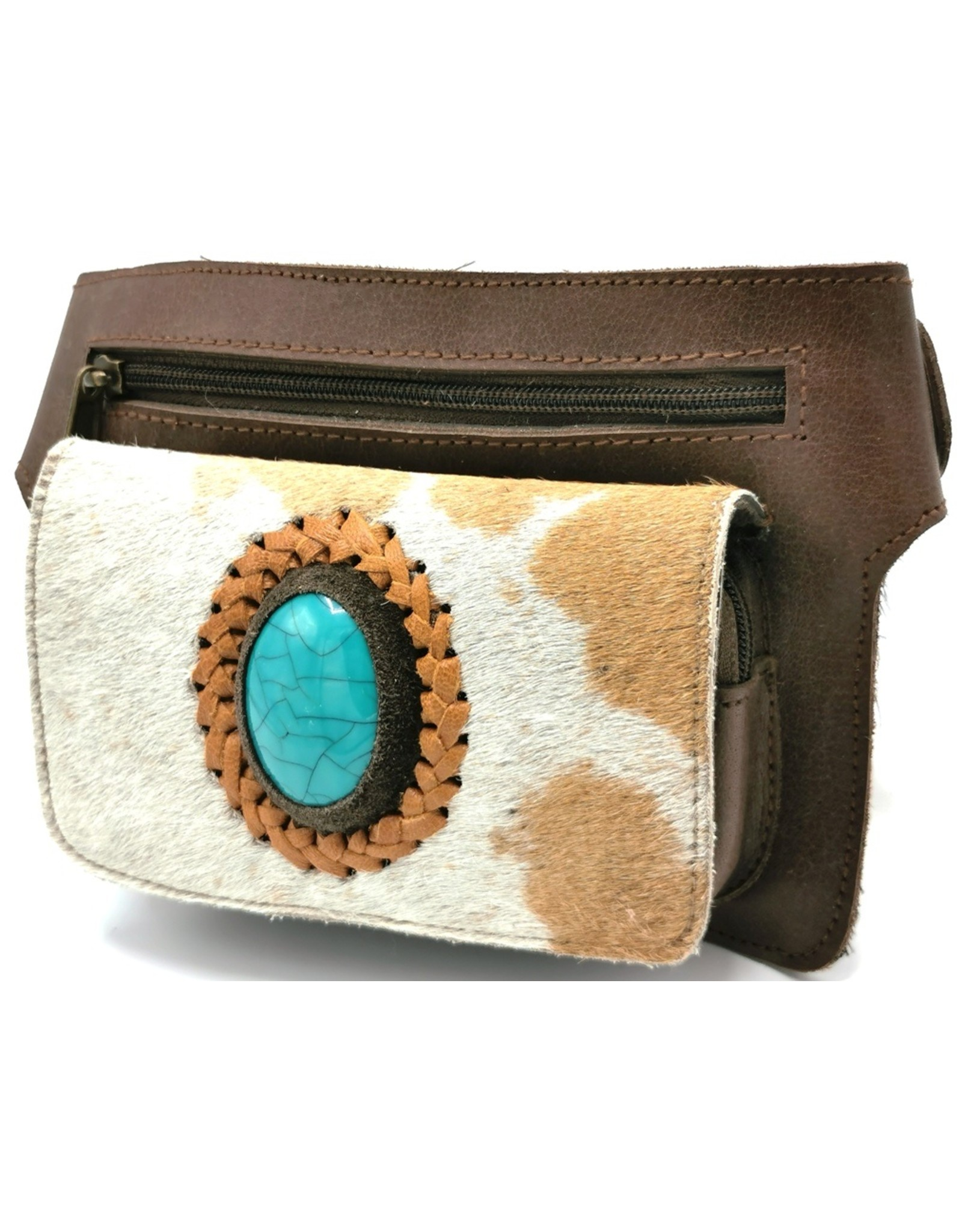 Trukado Small leather bags, clutches and more - Leather bum bag with fur and blue stone, rectangle