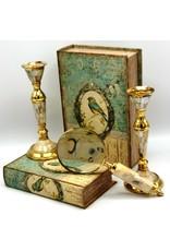 Trukado Miscellaneous - Antiek look Kandelaar van messing en parelmoer, set van 2 stuks