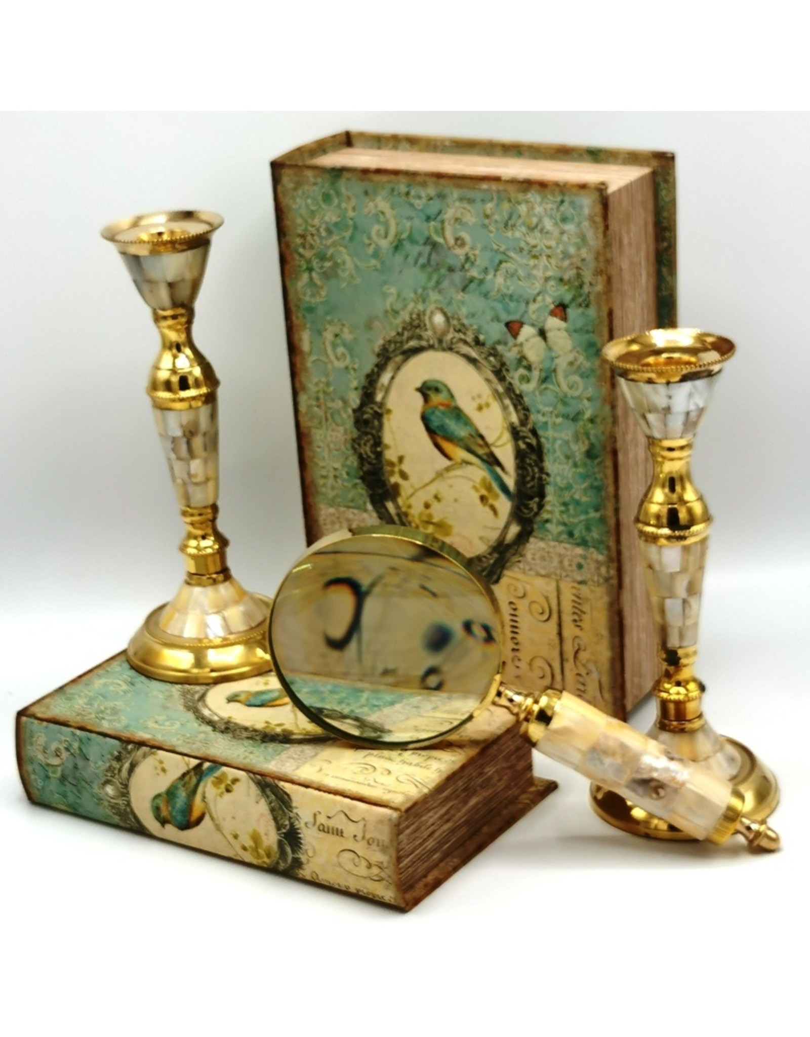 Trukado Miscellaneous - Antiquek look candlestick of brass and mother-of-pearl, set of 2 pcs