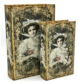Vintage Opbergdoos Book Dame - set van 2