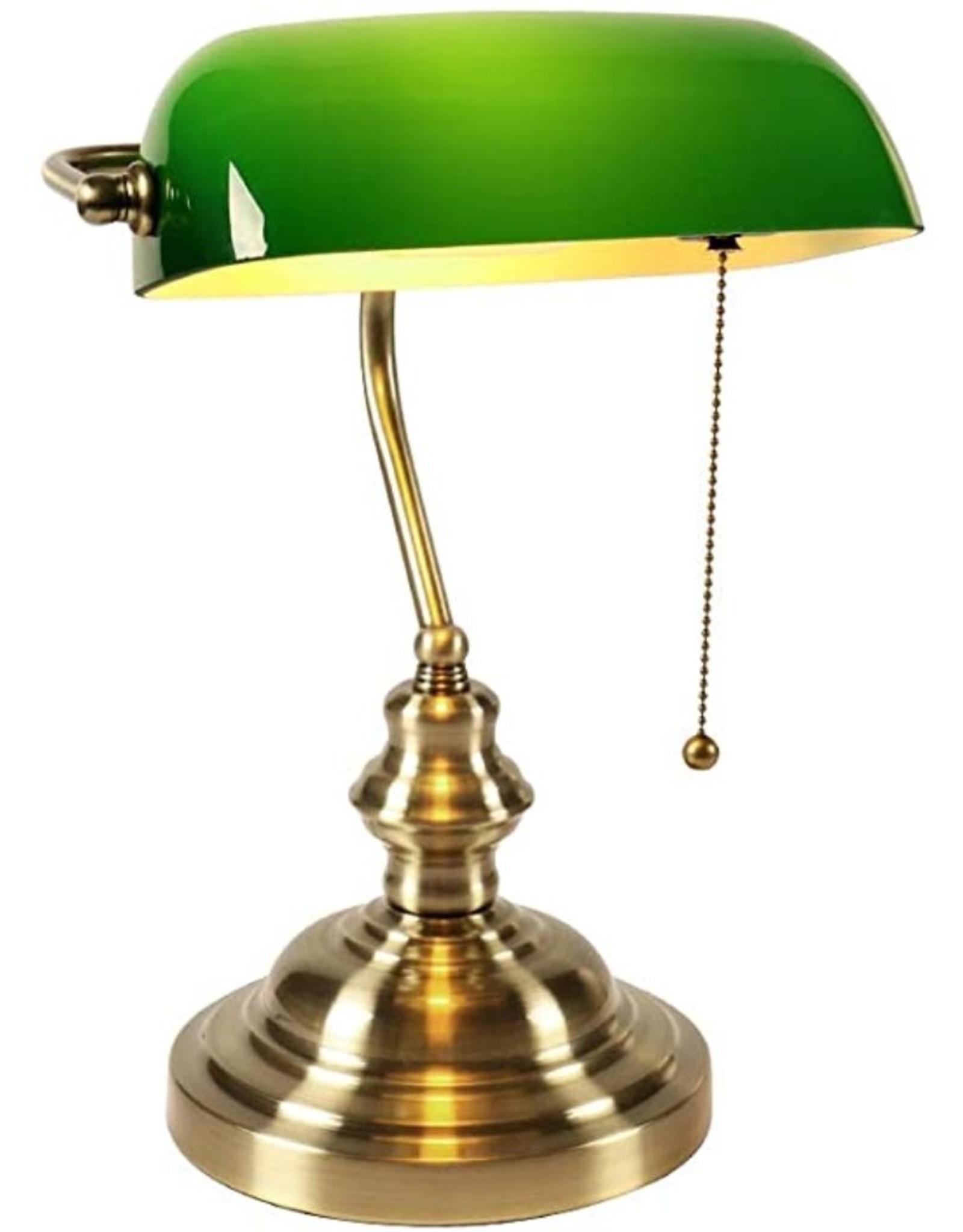 Klassieke bureaulamp-Notarislamp-bankierslamp-Art deco Miscellaneous - Bankierslamp met groene glazen kap Art Deco (enkele arm)