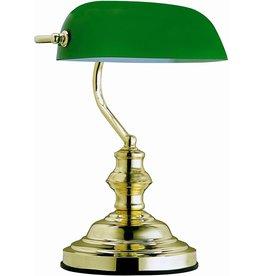 Klassieke bureaulamp-Notarislamp-bankierslamp-Art deco Solid Brass Banker's Lamp with green glass shade Art deco (single arm)