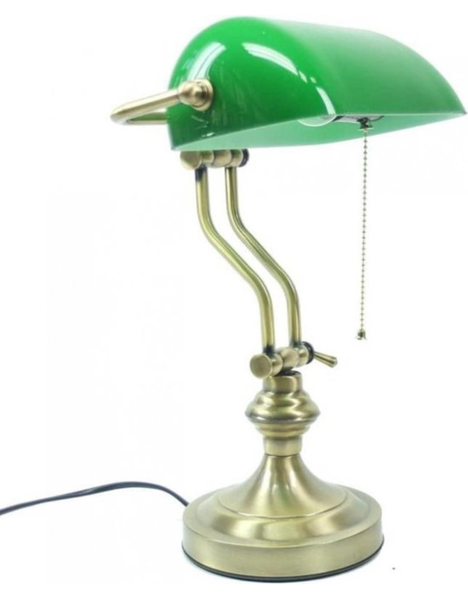 Klassieke tafellamp Art Deco Miscellaneous - Banker's lamp with green glass shade Art deco