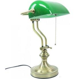 Klassieke tafellamp Art Deco Bankierslamp met groene glazen kap Art deco