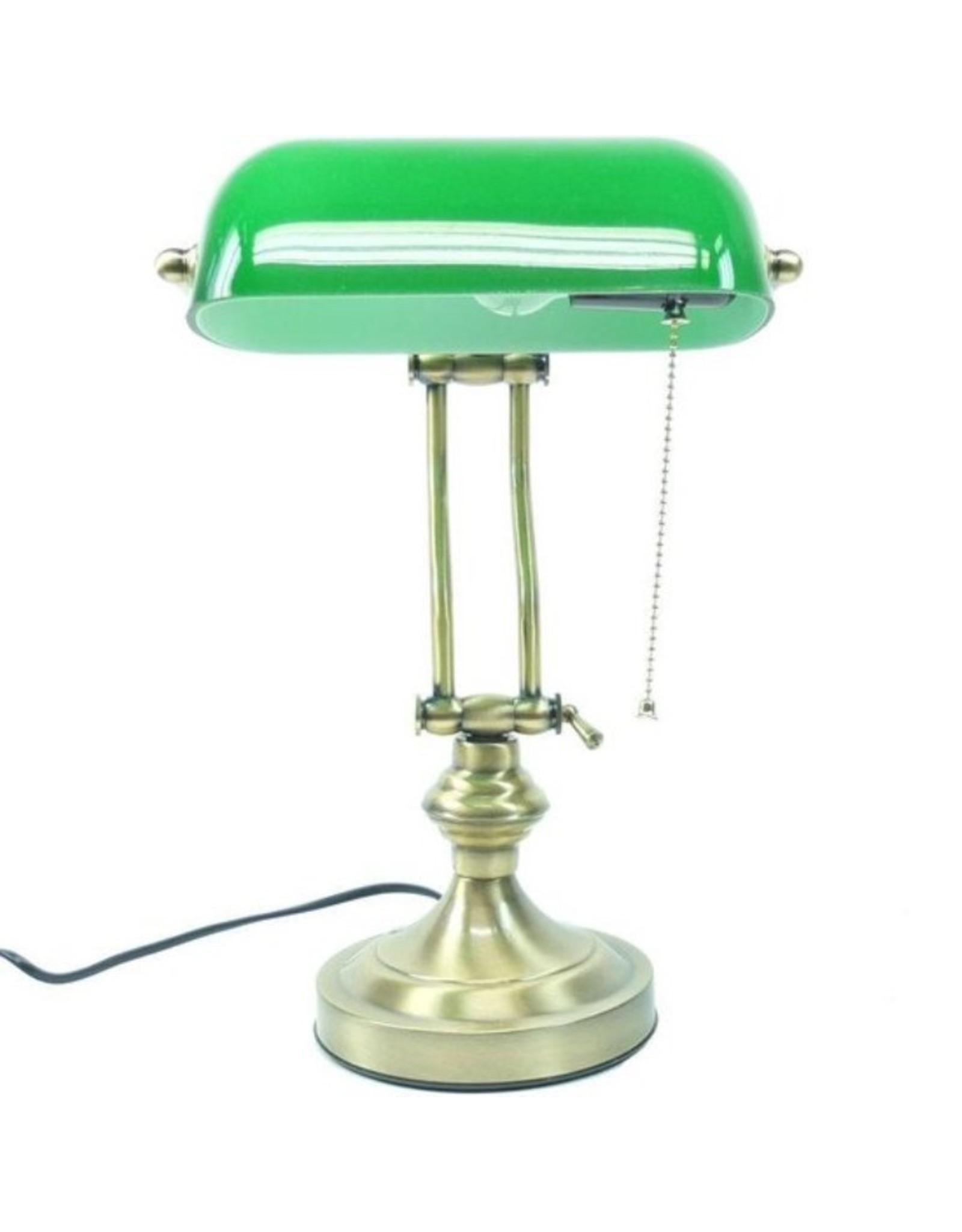 Klassieke tafellamp Art Deco Miscellaneous - Bankierslamp met groene glazen kap Art deco
