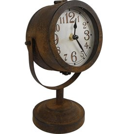 Tafelklok koplamp industriële look Clock Headlight Rust Brown Metal, Industrial look