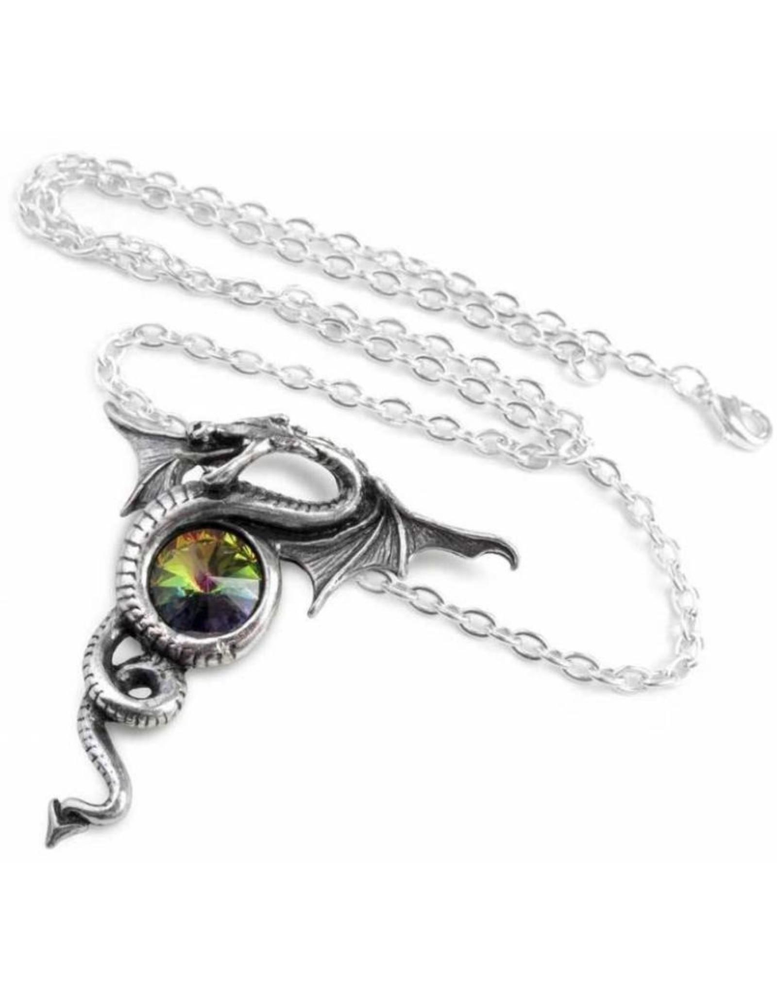 Alchemy Gothic sieraden Steampunk sieraden - Anguis Aeternus Draak ketting  met groen kristal - Alchemy