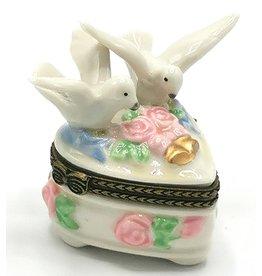 Pillendoosje Duifjes en hart Pillbox Two Doves and Heart - porcelain