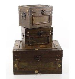 Trukado Vintage  houten opbergkisten set van 3