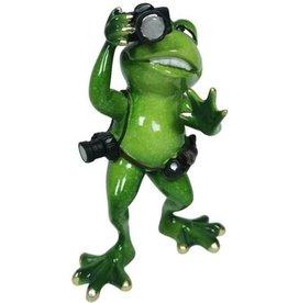 Kikker Fotograaf beeld Frog photographer figurine - 17cm, polyresin