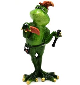 Kikker Kapper beeld Frog Hairdresser figurine - 19cm, polyresin
