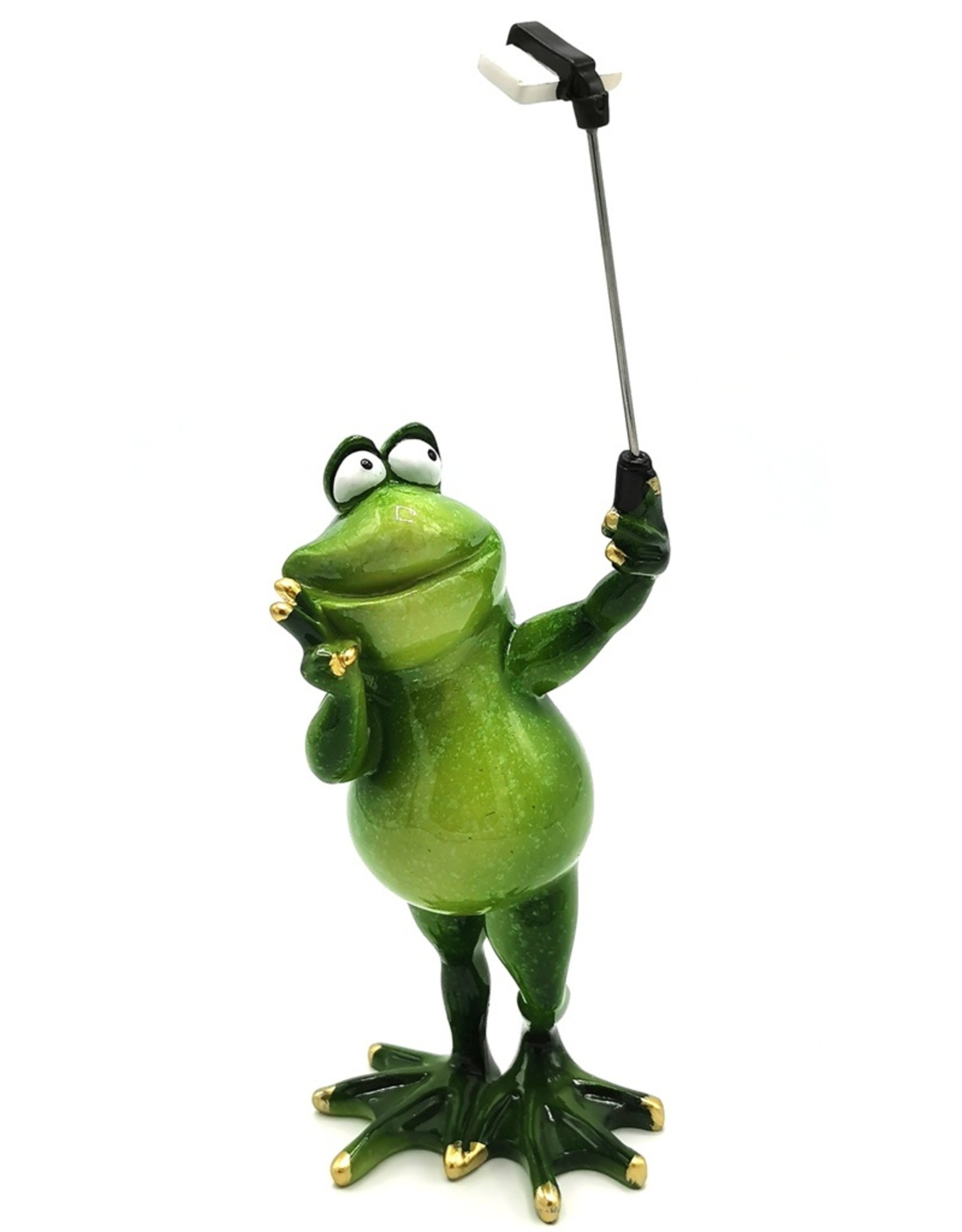 Kikker met selfie stick beeldje Giftware Figurines Collectables - Frog with selfie stick figurine - 28cm, polyresin