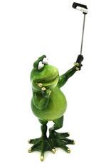 Kikker met selfie stick beeldje Giftware, beelden, collectables - Kikker met Selfie stick beeld - 28cm, polyresin