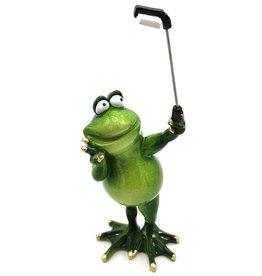 Kikker met selfie stick beeldje Frog with selfie stick figurine - 28cm, polyresin