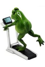Kikker op de loopband beeldje Giftware Figurines Collectables - Frog on the Treadmill figurine - 18cm, polyresin
