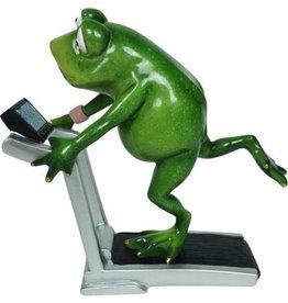 Kikker op de loopband beeldje Frog on the Treadmill figurine - 18cm, polyresin