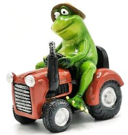 Kikker op tractor beeldje Frog on Tractor figurine - 15,5cm, polyresin