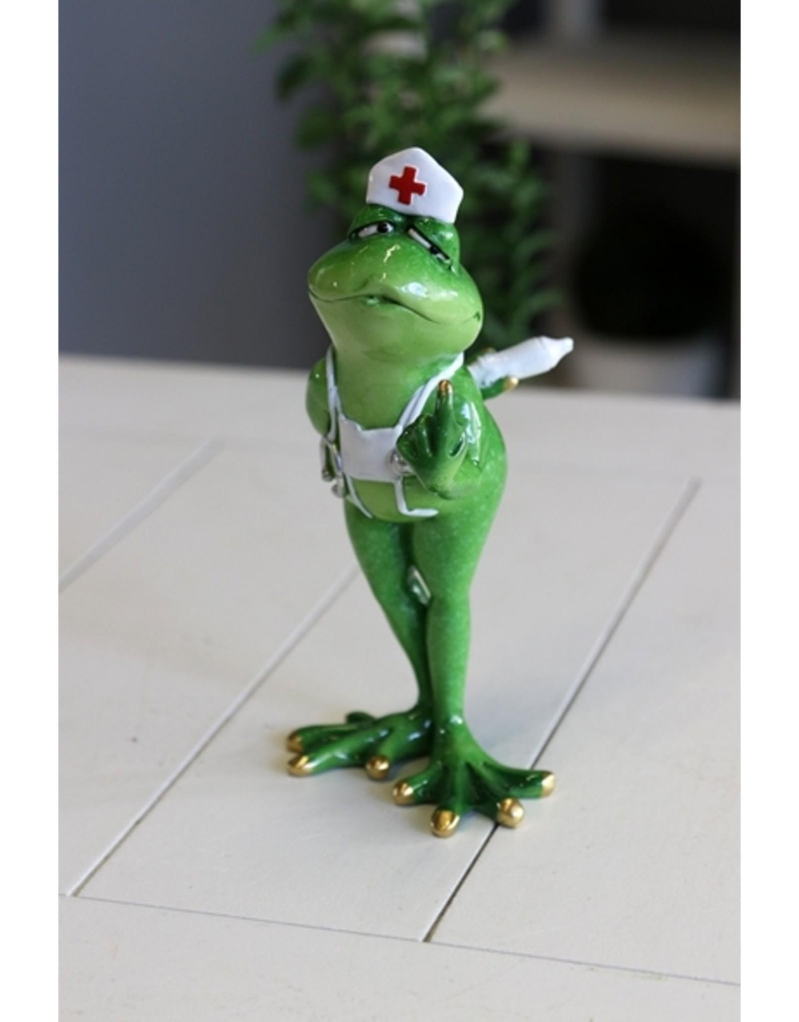 Kikker verpleegster beeldje Giftware Figurines Collectables - Frog Nurse figurine - 19cm, polyresin